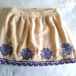 Under Skies Anthropology Ivory Embroidered Skirt